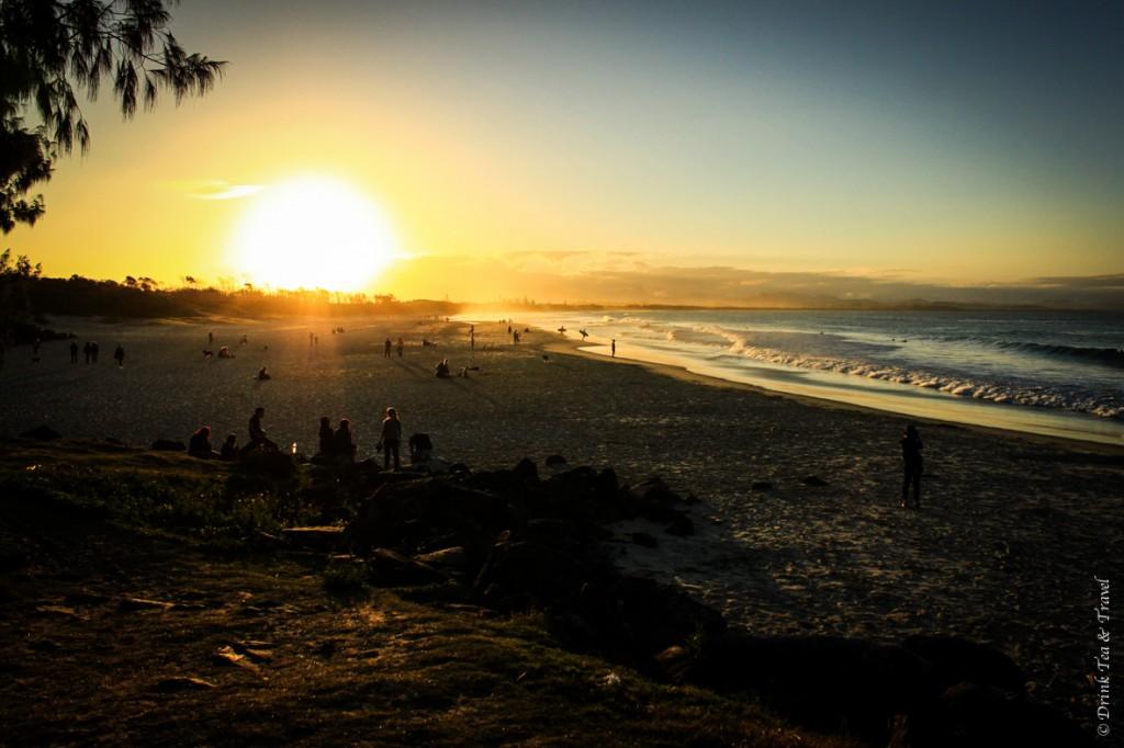 Beaches at Byron bay: Sunset at Main Beach, Byron Bay, Australia