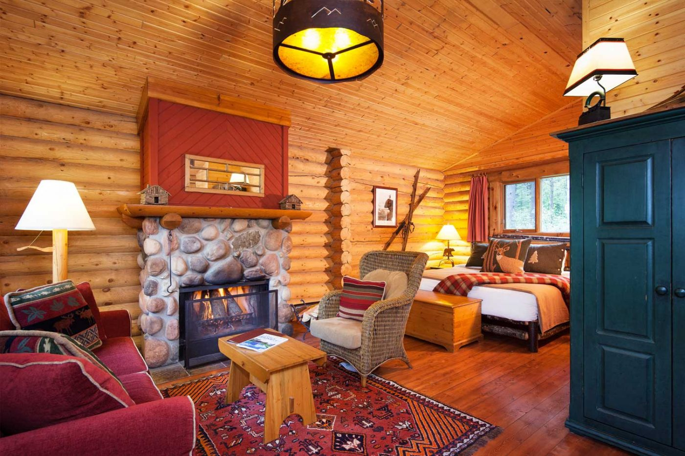 luxury resorts in british columbia: Cathedral Mountain Lodge view inside the cabin
