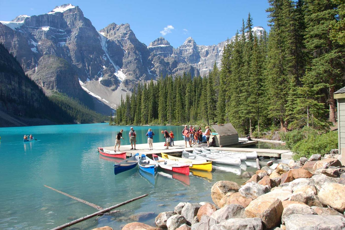 luxury resorts in british columbia: Cathedral Mountain Lodge lake with many outdoor activities