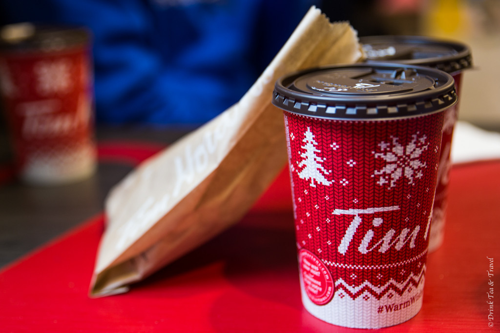 A cup of steeped tea and a butter croissant - my favourite order at Tim Hortons!
