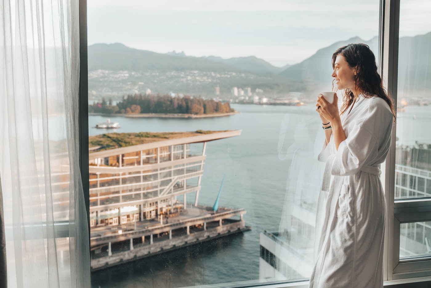 Mornings at the Fairmont Waterfront hotel in Vancouver