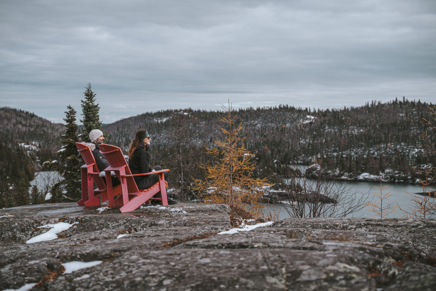Red chairs on the Southern Headland Trail in Pukaskwa National Park