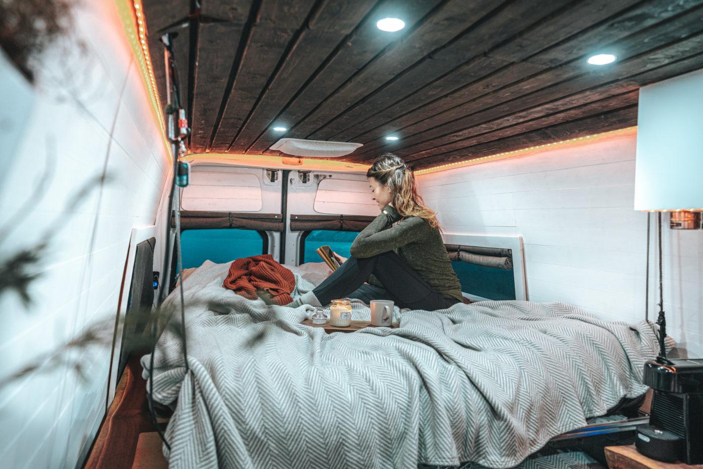 Canada van life bed relaxing candle blanket Oksana-09683