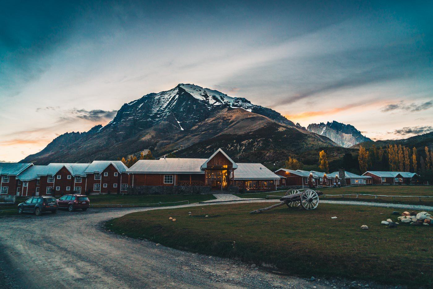 Las Torres Hotel at sunset, Torres del Paine National Park