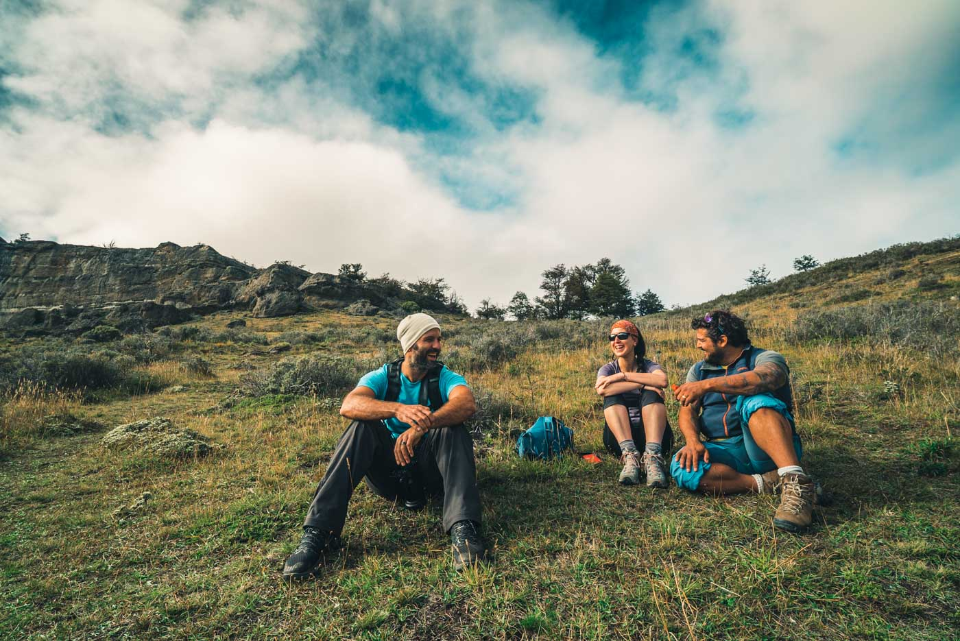Max, Nili and Felipe enjoying a break on the slopes of Cerro Queso at Laguna Sofia