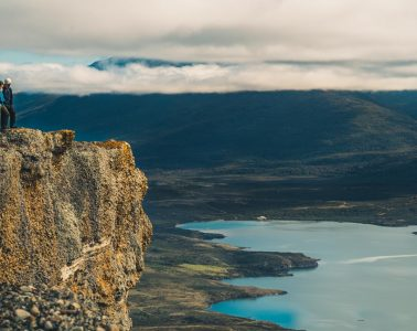 Dramatic cliffs at at the top of Cerro Queso, Laguna Sofia