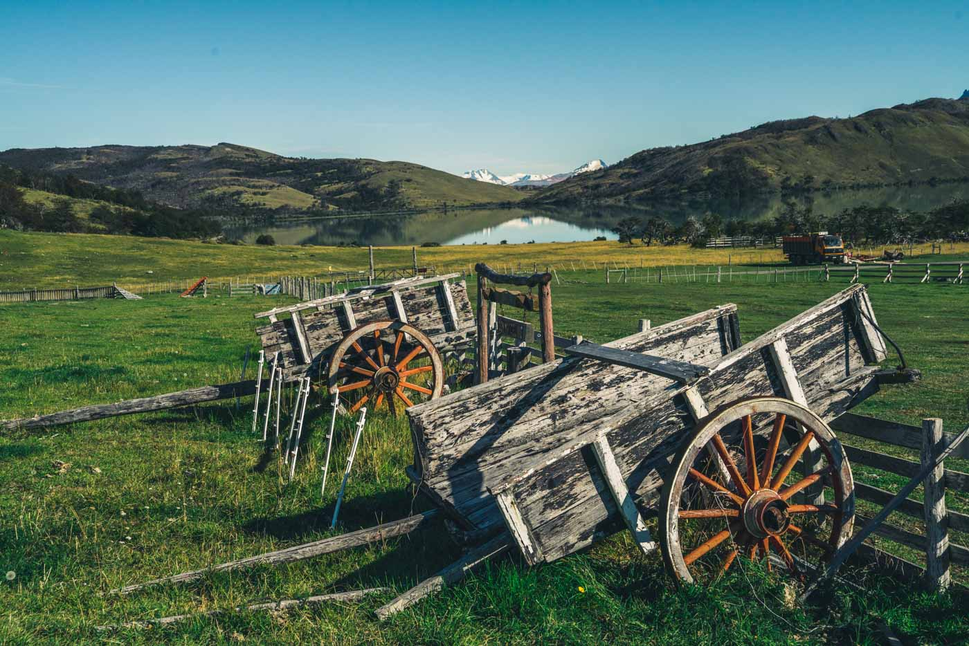 Wooden horse carriages sit unused at Estancia Lazo, Patagonia, Chile