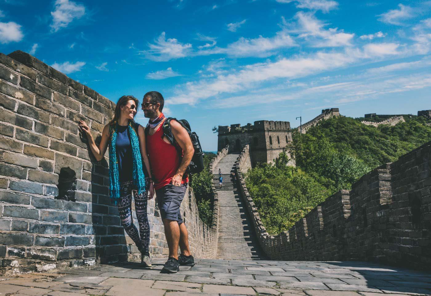 Oksana & Max hiking on the Great Wall of China