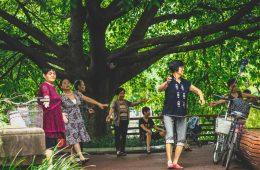 Locals dancing in a park in Chengdu, China