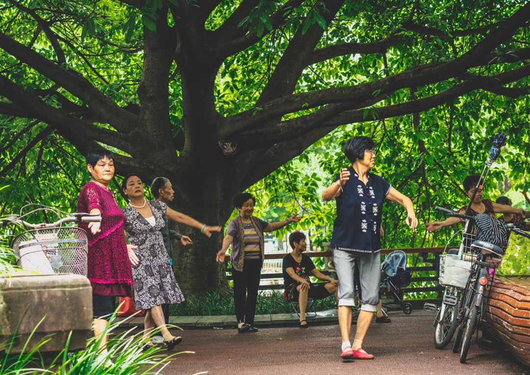Locals dancing in a park in Chengdu, China
