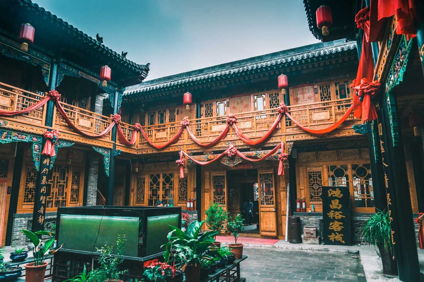 Traditional courtyard in a locally run hotel in Pingyao, China