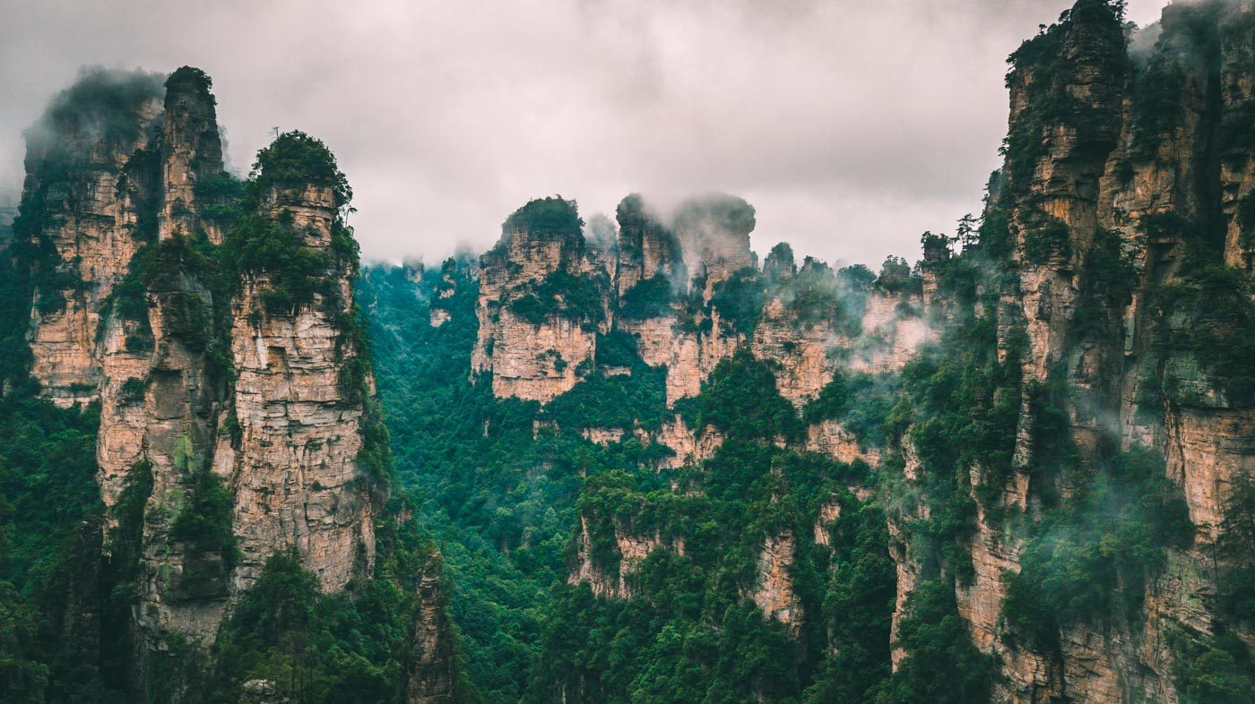 Beautiful places in China: Scenery with fog and mountains