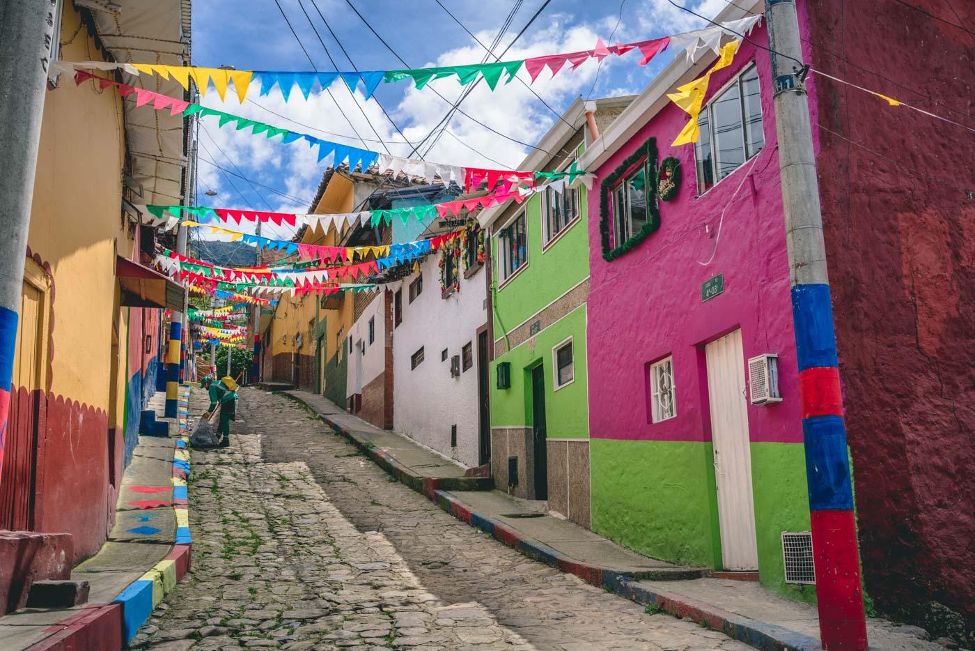 Colourful street in Egipto Bario, Bogota