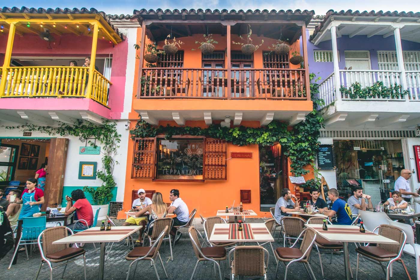 Vibrant outdoor restaurant in Cartagena, Colombia
