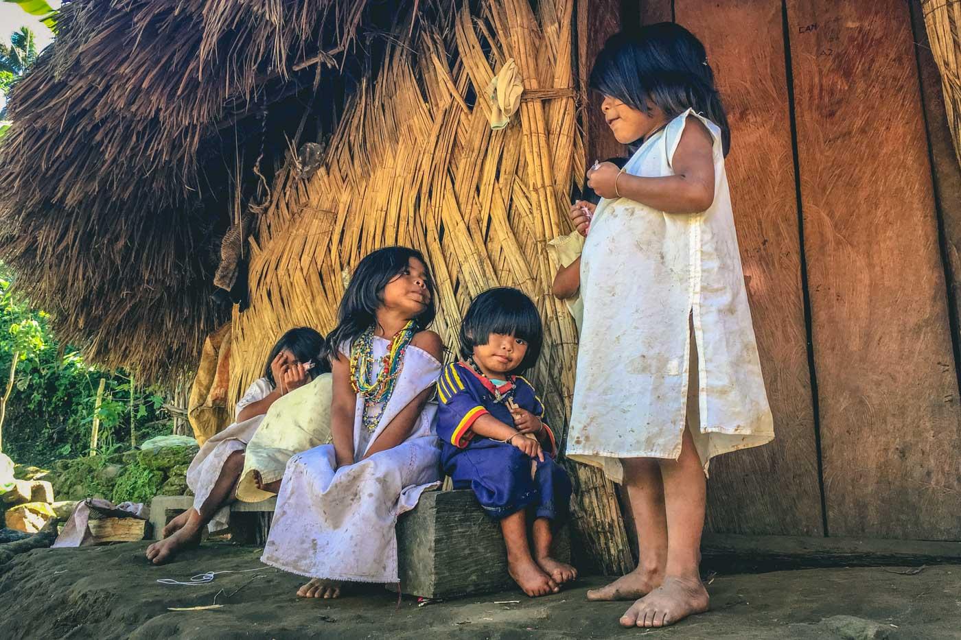 Indigenous kids at the Lost City, Santa Marta