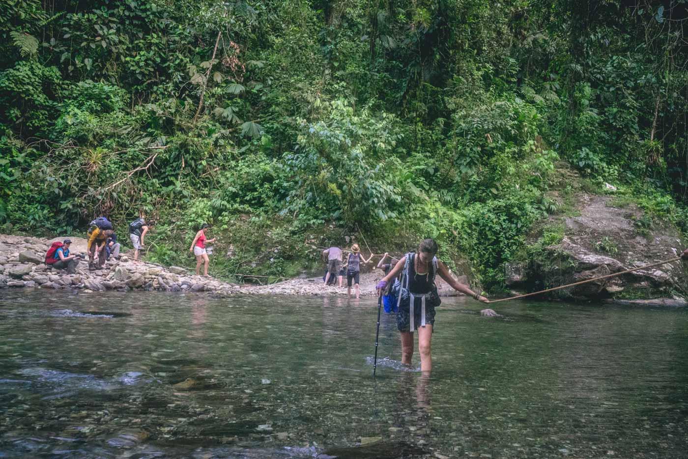River crossing approaching Paraiso Teyuna Camp, Lost City trek