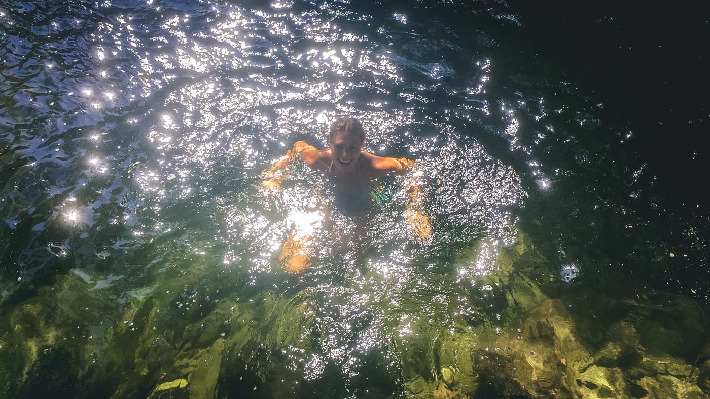 Chilly swim in Rio Buritaca, Lost City Trek