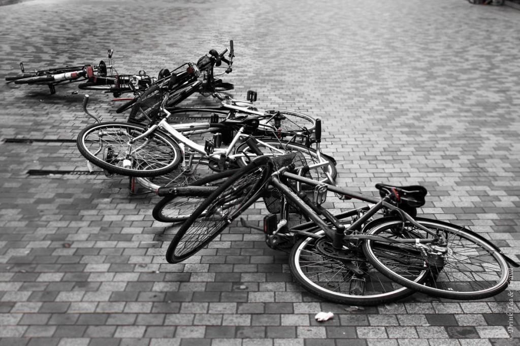 Artistic bike display in the middle of a street in Copenhagen