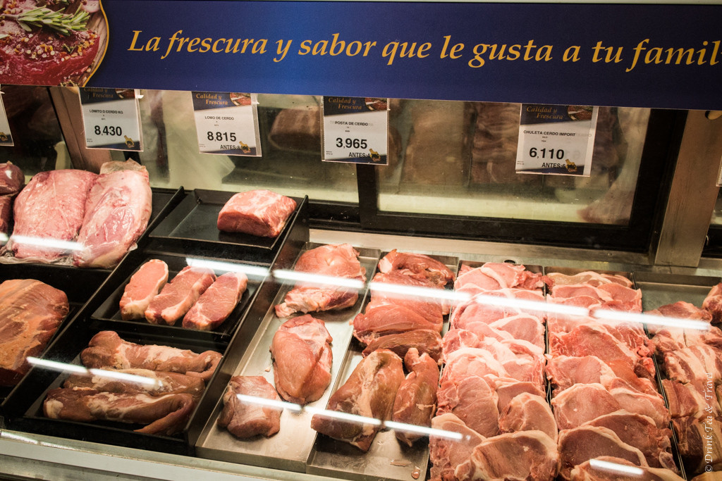 Meat selection at a local grocery store in San Jose, Costa Rica