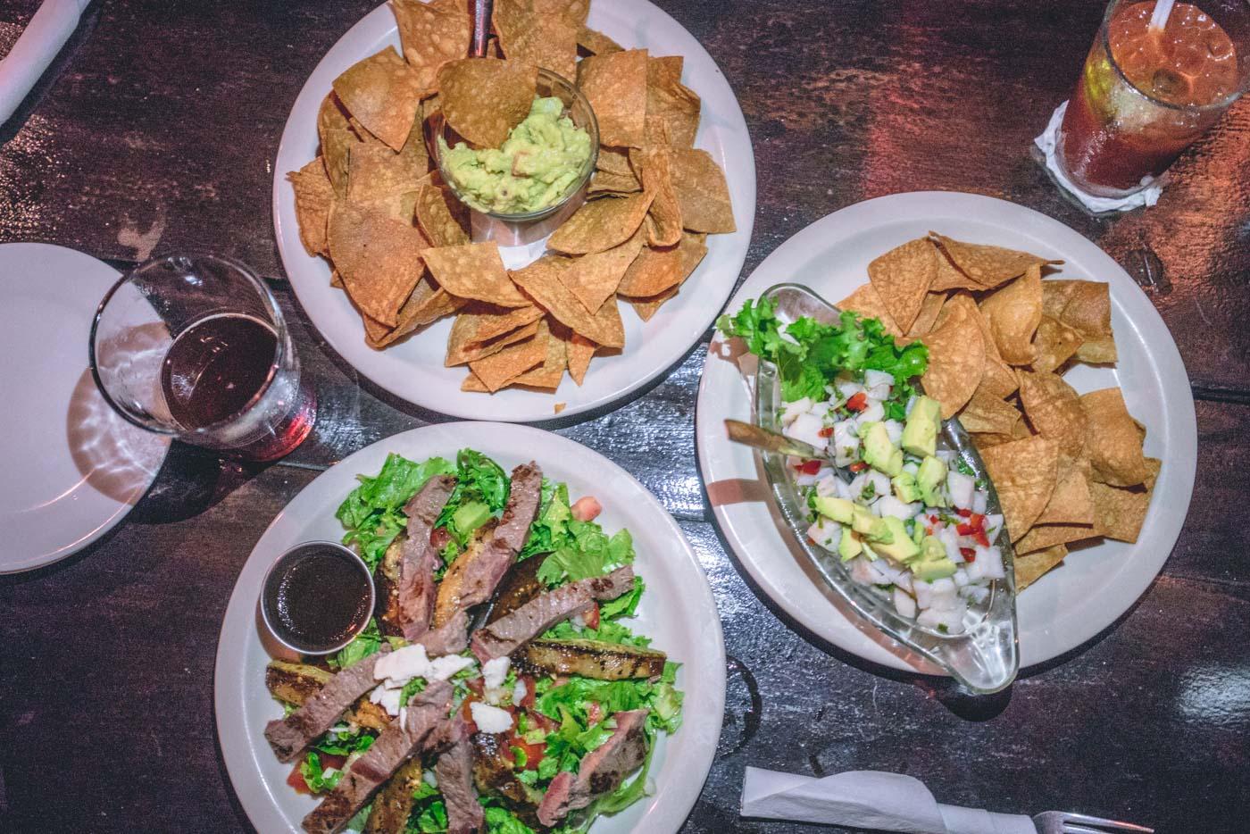 Arenal Costa Rica: Ceviche, guacamole and a steak salad at Lava Bar, La Fortuna