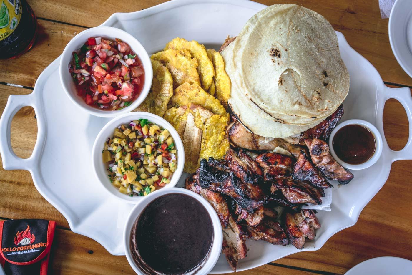 Arenal Costa Rica: Meat platter at Pollo Fortuneno, La Fortuna