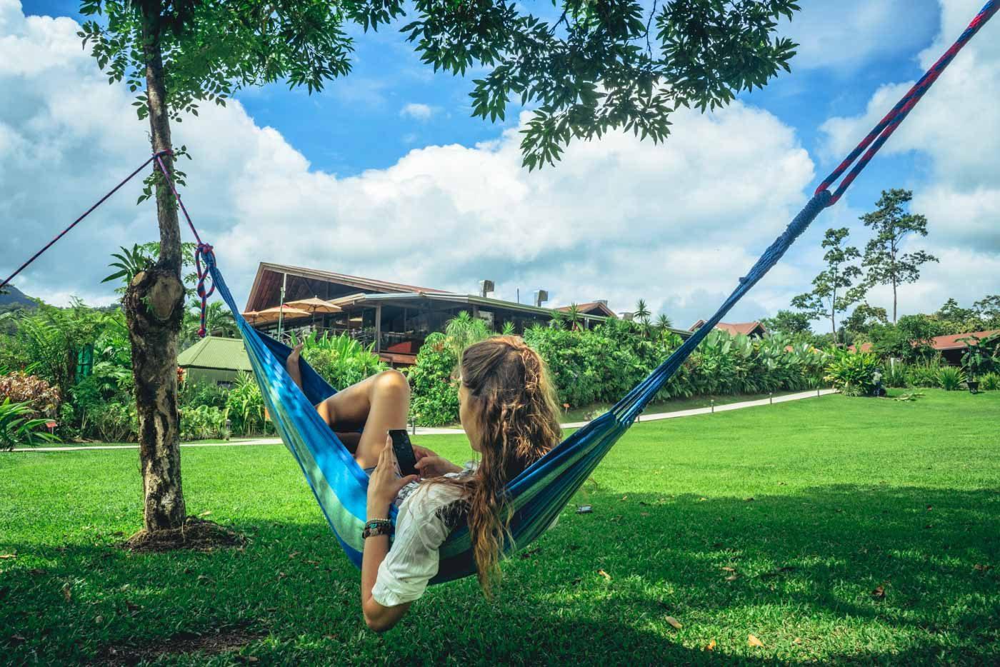 Costa Rica itinerary: Arenal hotel hammock