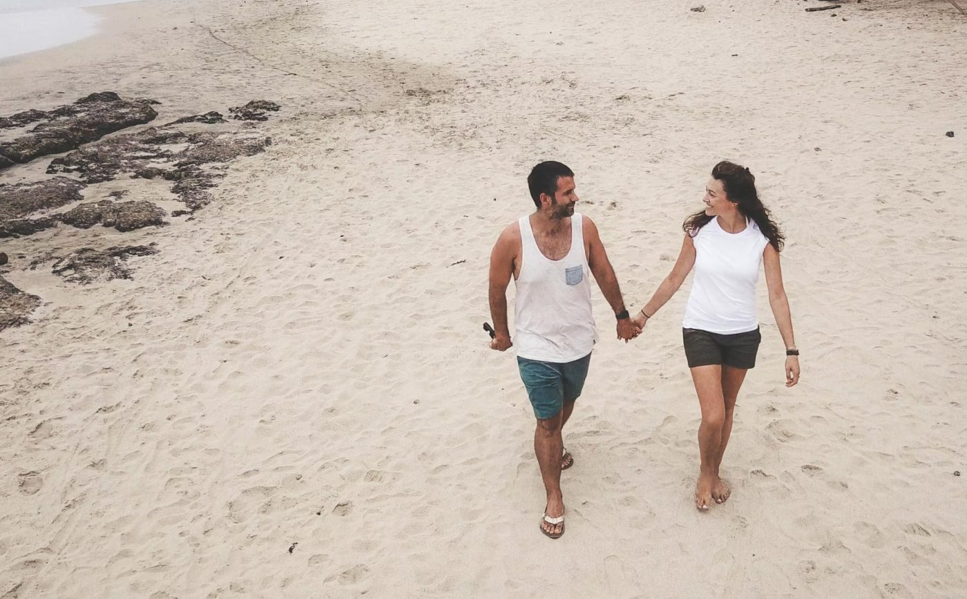 Oksana wearing Organic Basics t-shirt on the beach in Costa Rica