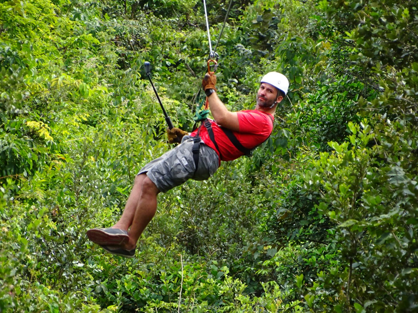 Zip lining thru Guachipelin before visiting Hot Springs in Costa Rica