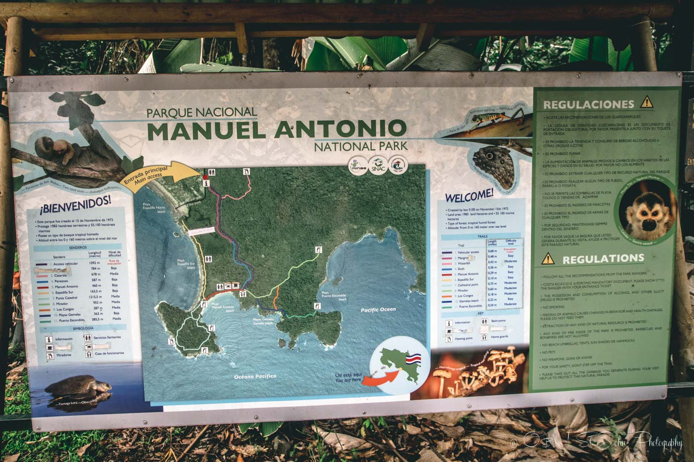 Manuel Antonio National Park: Trail map at Manuel Antonio National Park
