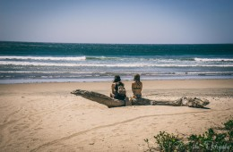 Things to do in Nosara: Two backpackers on the beach in Playa Guiones. Nosara. Costa Rica
