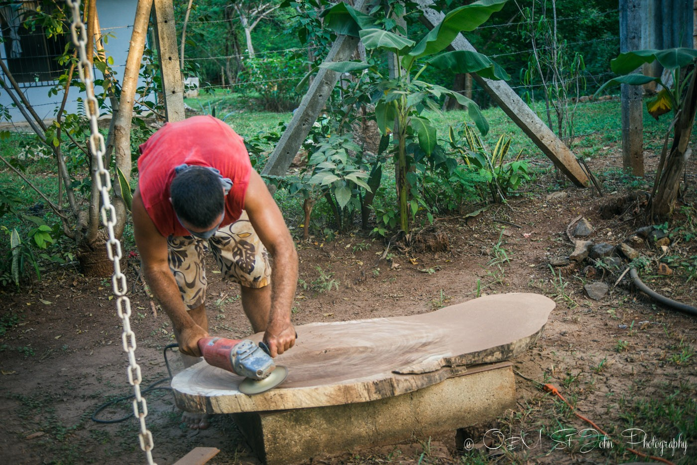 Max building a table for our wedding reception. Costa Rica