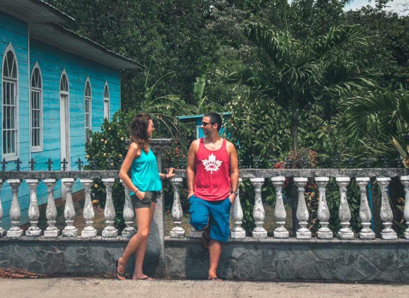 Sporting our Prana shorts on the streets of Costa Rica