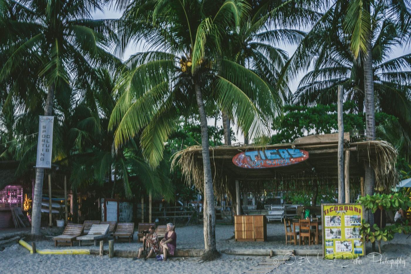 Ticos Surf School on the beach in Samara Costa Rica