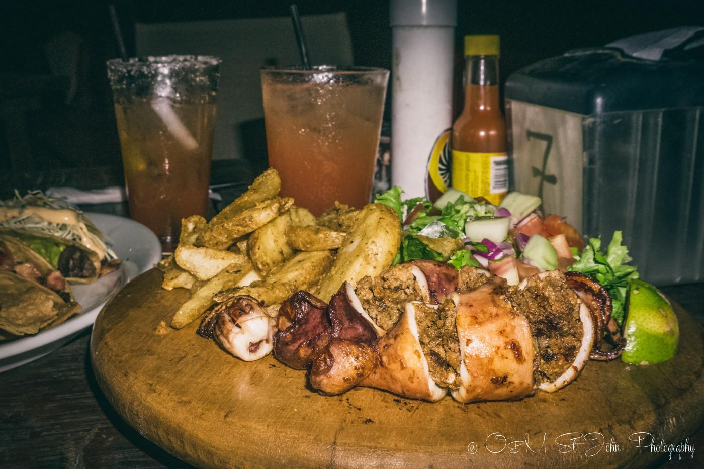 Calamari stuffed with chorriso at Lo Que Hay Restaurant in Samara. Costa Rica