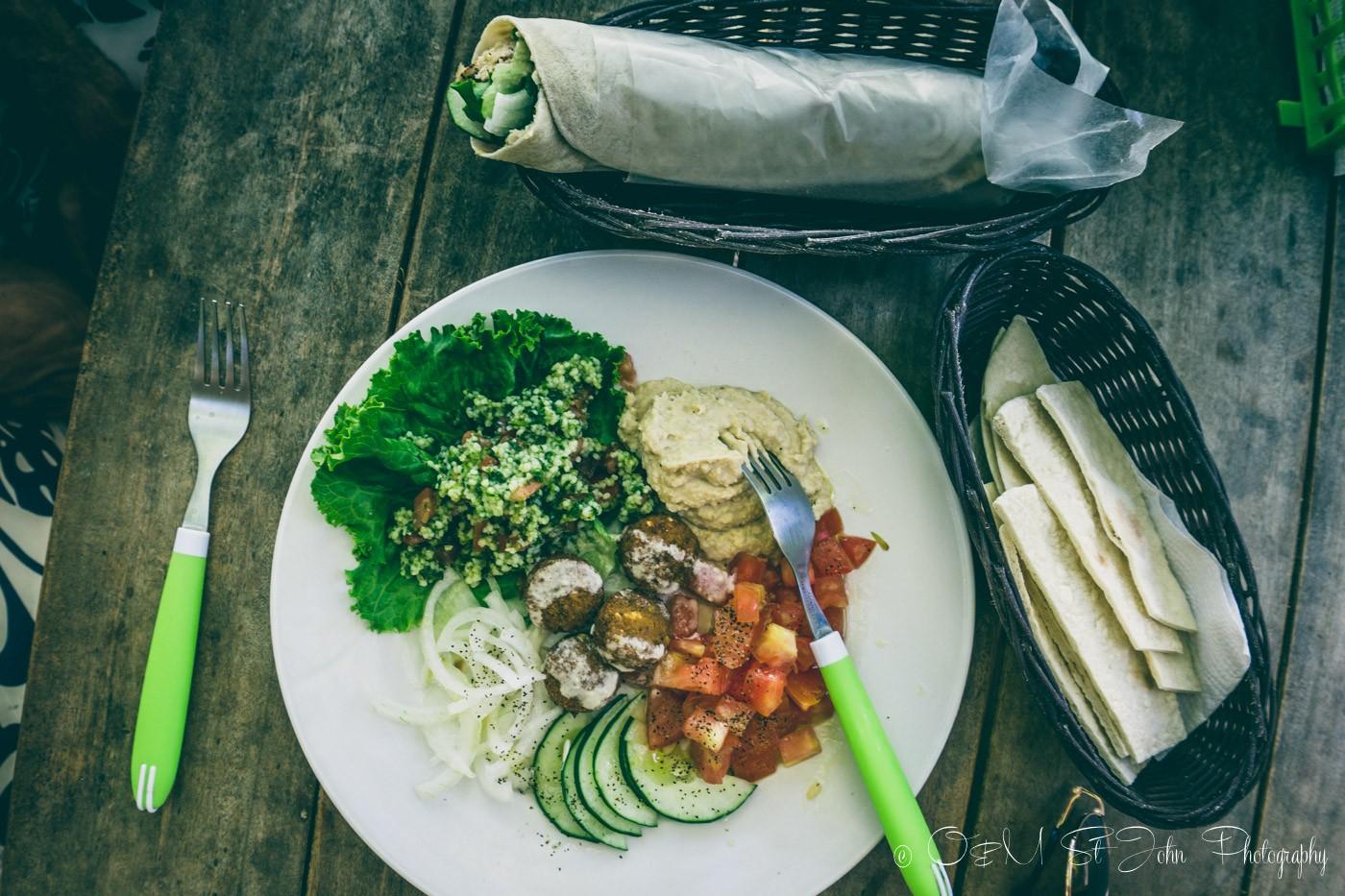Yummy lunch at the Falafel Cafe. Samara Costa Rica