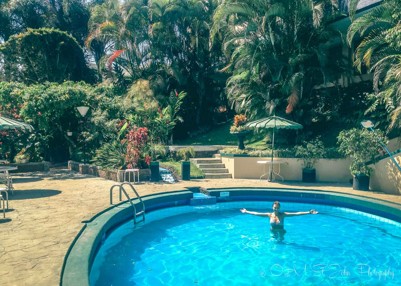 Oksana in the pool in San Jose, Costa Rica