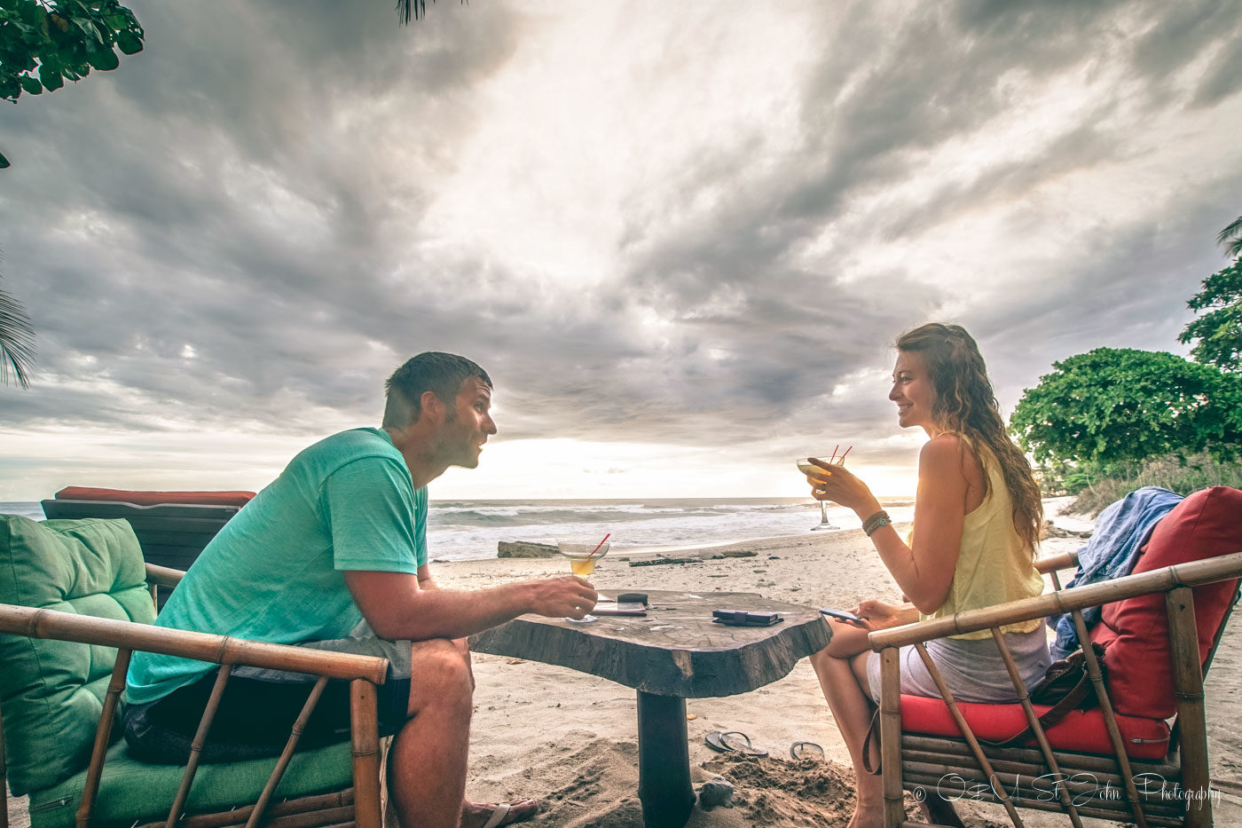 Oksana & Max sunset drinks at Habanero in Santa Teresa. Costa Rica