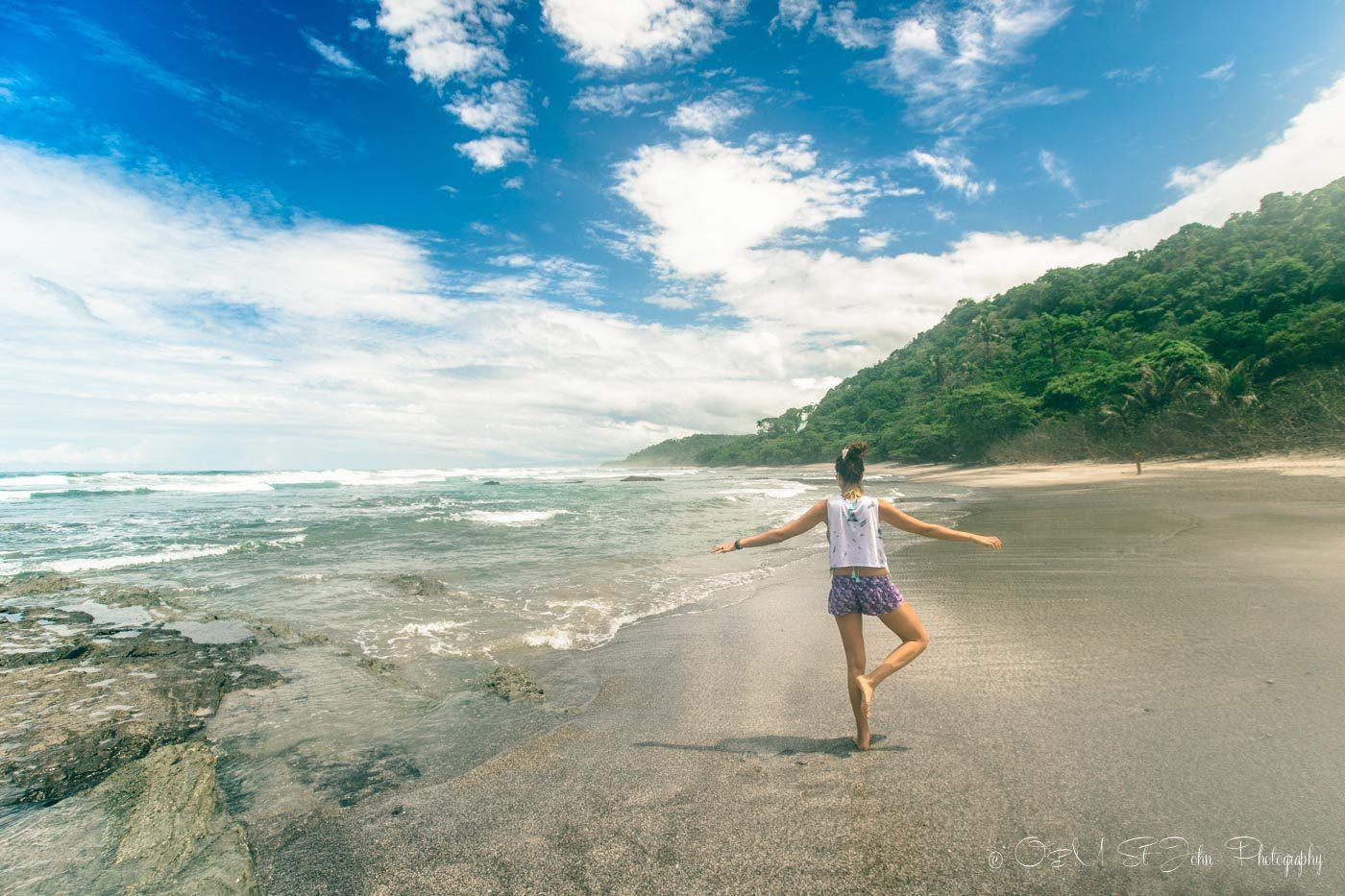 Oksana on the beach at Santa Teresa, Costa Rica