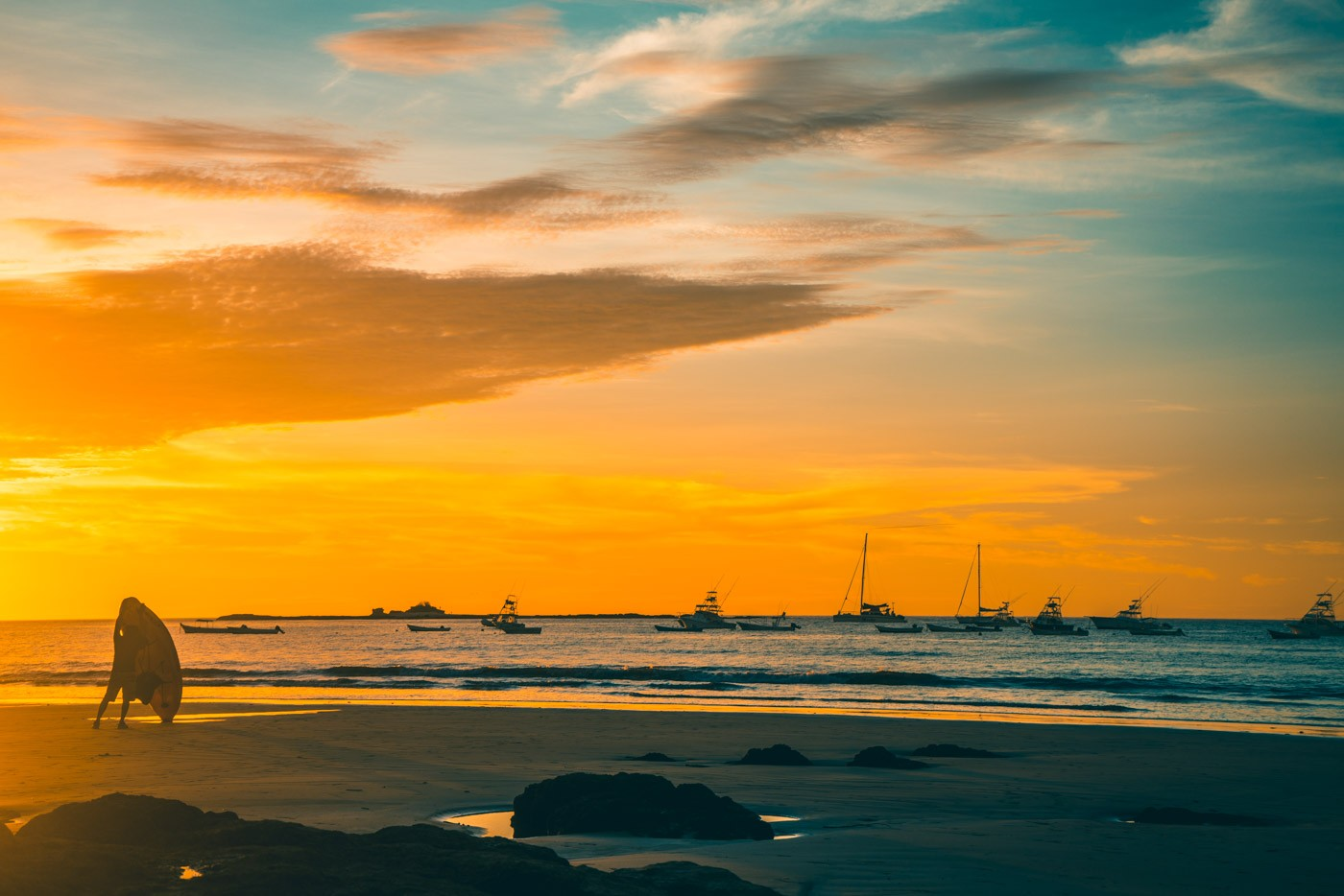 Sunset surf in Tamarindo