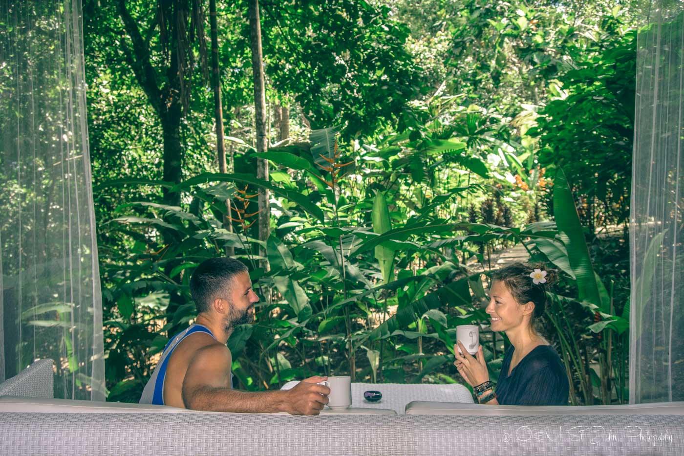 Max & Oksana enjoying jungle views with morning tea. Oxygen Jungle Villas, Uvita