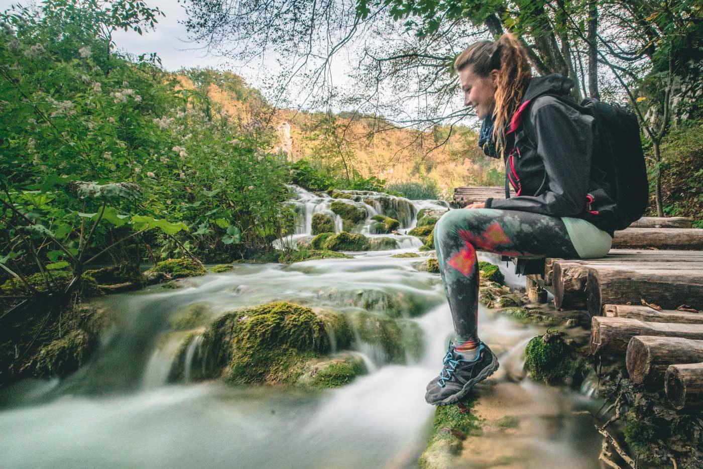 Oksana wearing Teeki hot pants on a hike in Plitvice National Park in Croatia