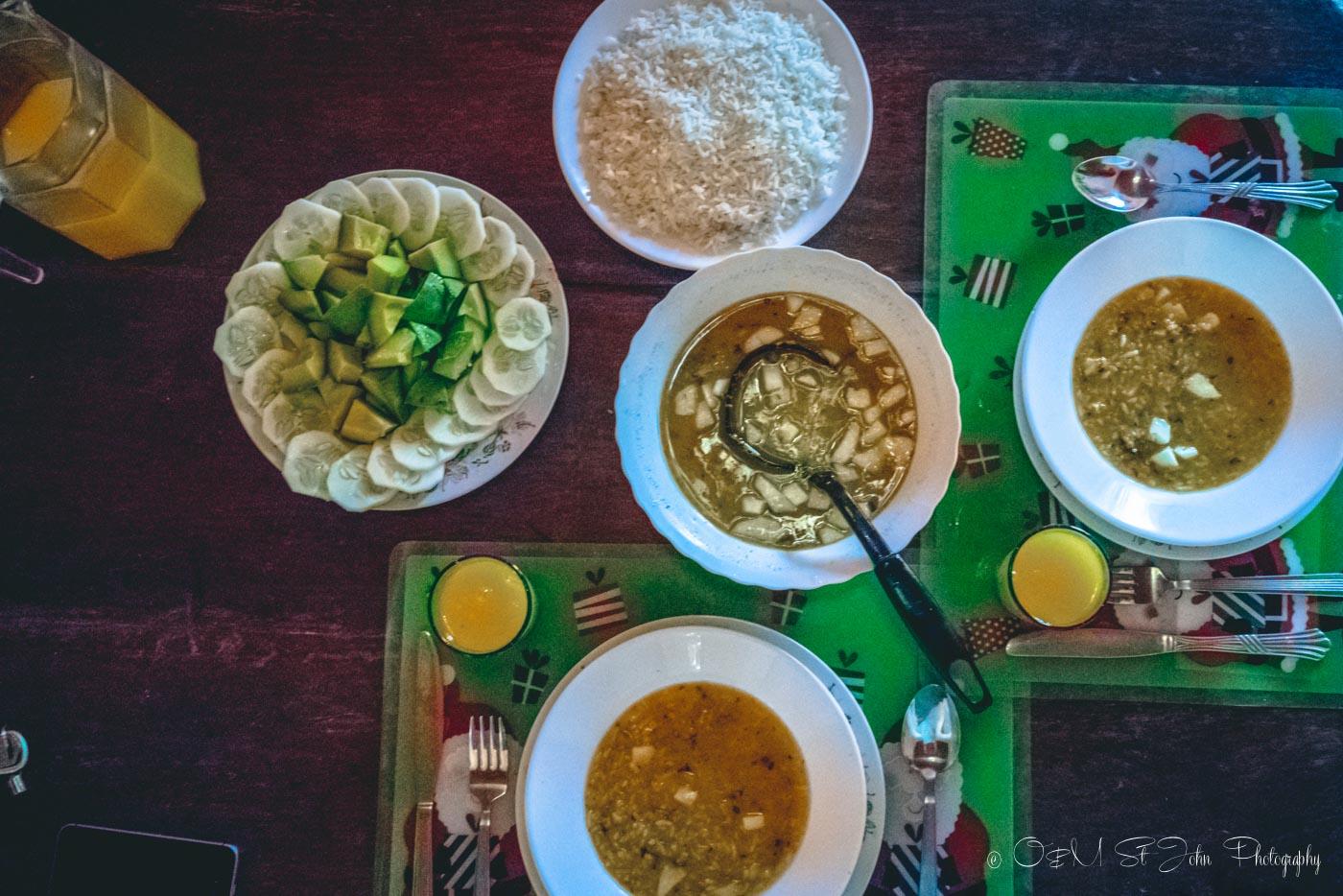 Delicious dinner meal at our Casa Particular in Cienfuegos, Cuba