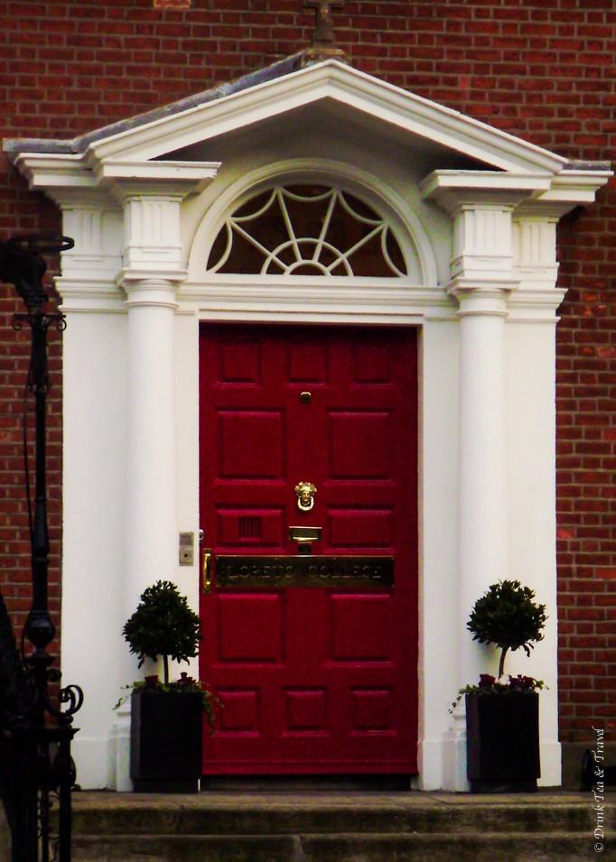 Red Georgian style door in Dublin