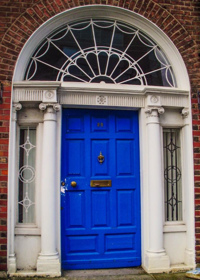 Blue Georgian style door in Dublin