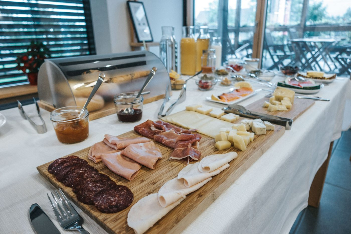 best eco hotels in Slovenia: Breakfast spread at the A.M.S. Beagle