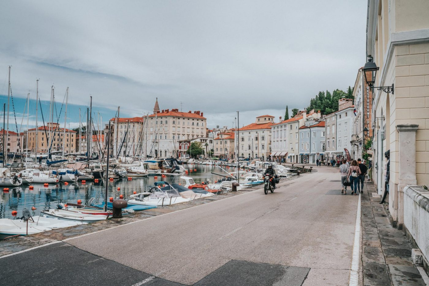 Waterfront of Piran Slovenia filled with boats