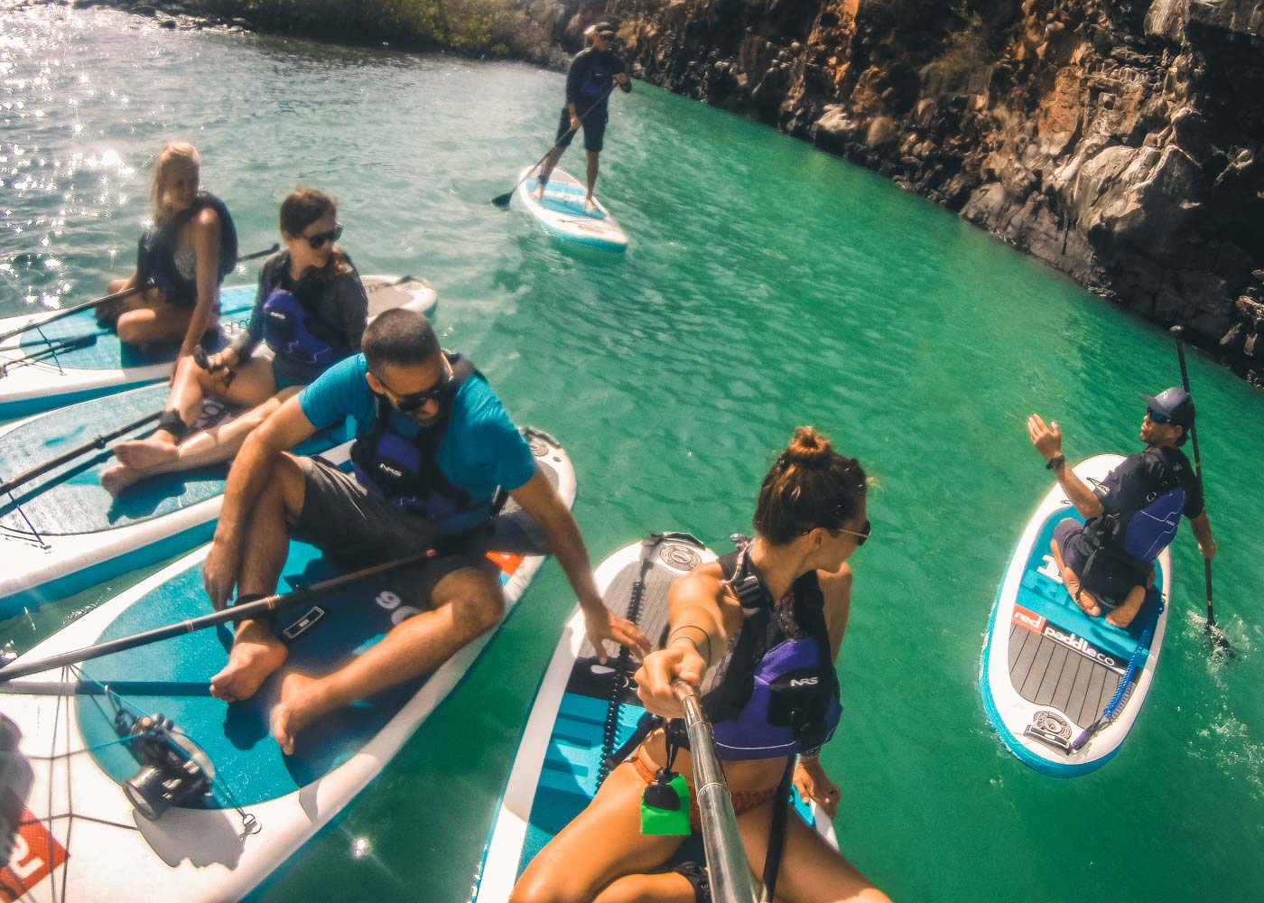 SUP adventures on Santa Cruz island with our Galakiwi group