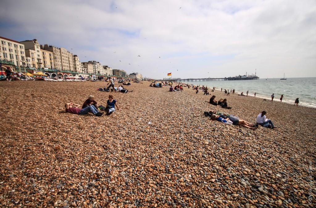 Brighton Beach on a cloudy day. England