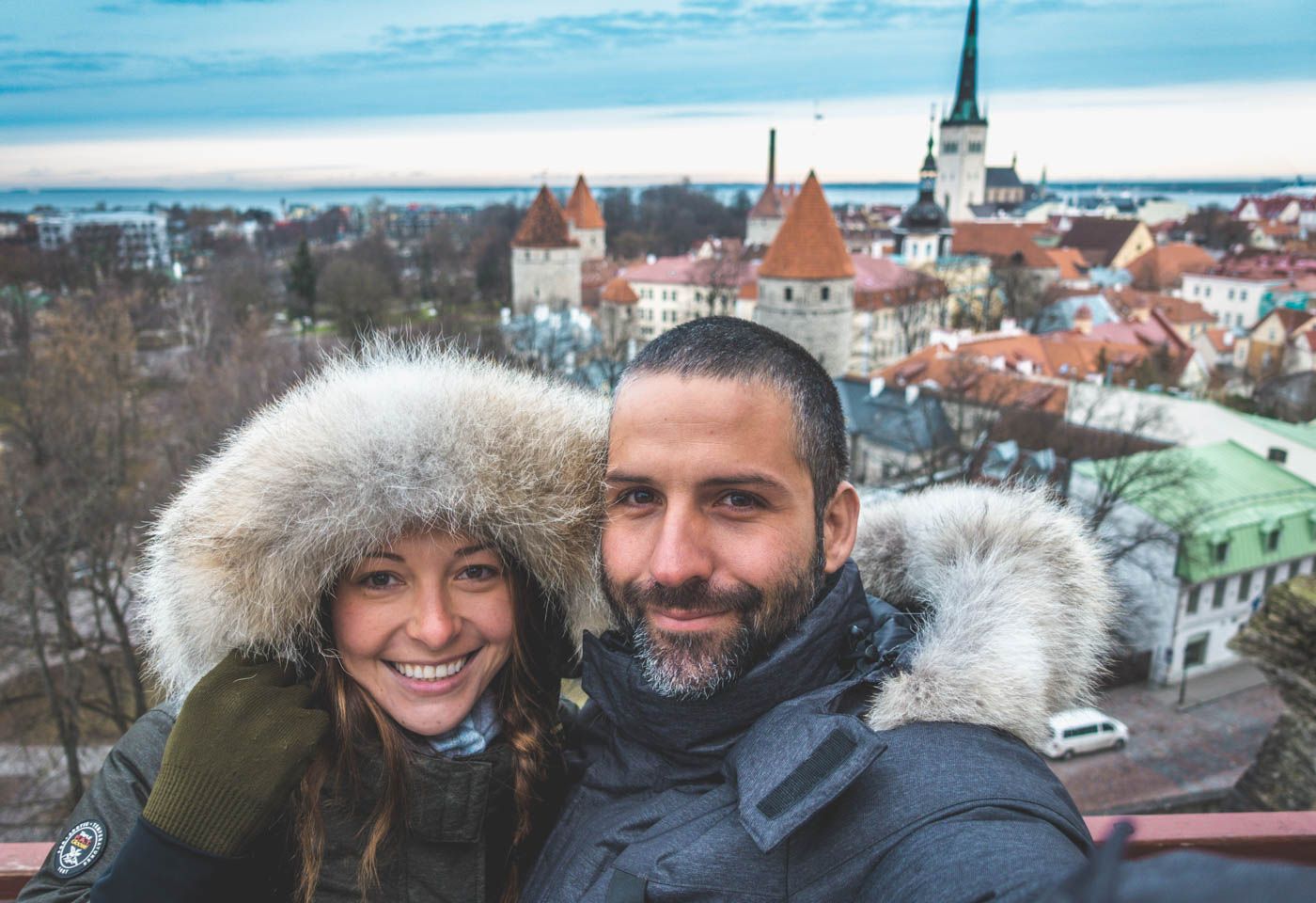 Things to do in Tallinn: Max and Oksana overlooking Old Town Tallinn on a recent visit in December 2017