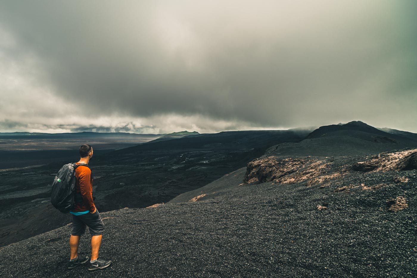 The black caldera of the Cerro Negro Volcano on Isabela Island